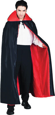 Deluxe Black Cape With Red Lined & Stand Up Collar Fancy Dress Forum - Black Cape With Red Lining