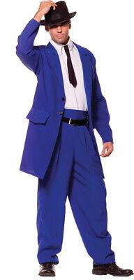 Zoot Suit Blue Adult Mens Costume 40s Mob Gangster 20s Jacket - Adult Blue Zoot Suit