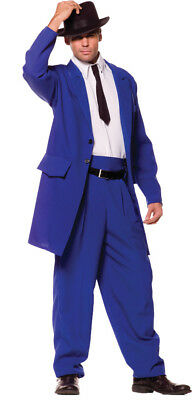 Zoot Suit Blue Adult Mens Costume 40s Mob Gangster 20s Jacket Halloween - Mens 20s Halloween Costume