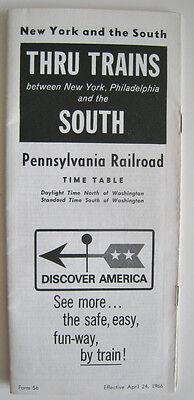 Vintage 1966 Pennsylvania Railroad PRR Timetable Thru Trains North South