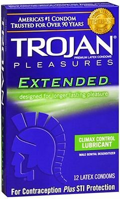 TROJAN Extended Pleasure Climax Control Lubricated Latex Condoms 12 Each 5pk Control Lubricated Latex Condoms