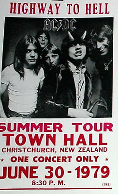 "AC/DC Concert Poster - 1979 Highway to Hell Summer Tour - 14""x22"" - Angus Young"
