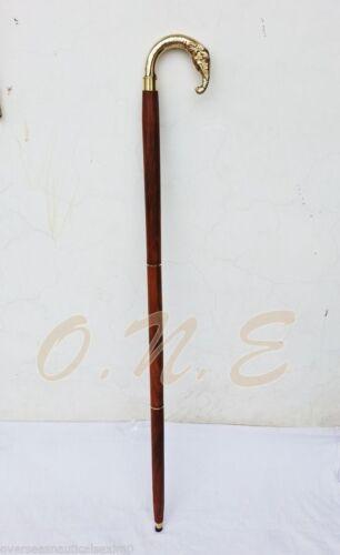 Brass+Round+Elephant+Trunk+Walking+Cane+Vintage+Style+Wood+Stick+Antique+Gift