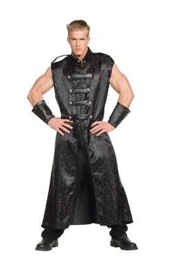 Anime Black Adult Men's Costume Jacquard Sleeveless Full Tunic Underwraps