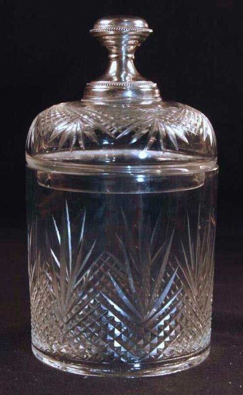 Antique Continental Cut Glass Crystal Jar w/ 830 Silver Top Knob Dresser Jelly