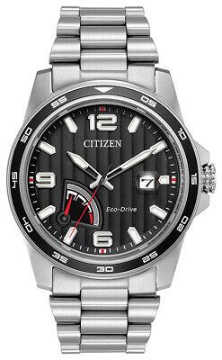 Citizen EcoDrive Men's PRT Black Dial Silver Tone 42mm Watch AW7030-57E