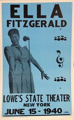 """Ella Fitzgerald Concert Poster - 1940 Lowe's State Theater - NYC - 14""""x22"""""""