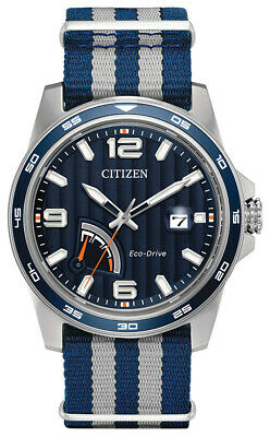Citizen Eco-Drive Men's Power Level Indicator Blue 42mm Watch AW7038-04L