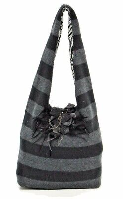 Alice & Olivia Black & Charcoal Stripe Knit Bag - Feathers, Beads, and Satin Bead Knitted Bags