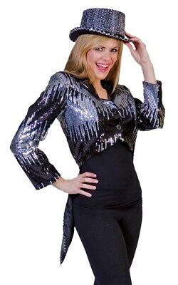 Glitzer Frack Silber Erwachsene Kostüm Vollständig Gefüttert Funkelnd Mantel