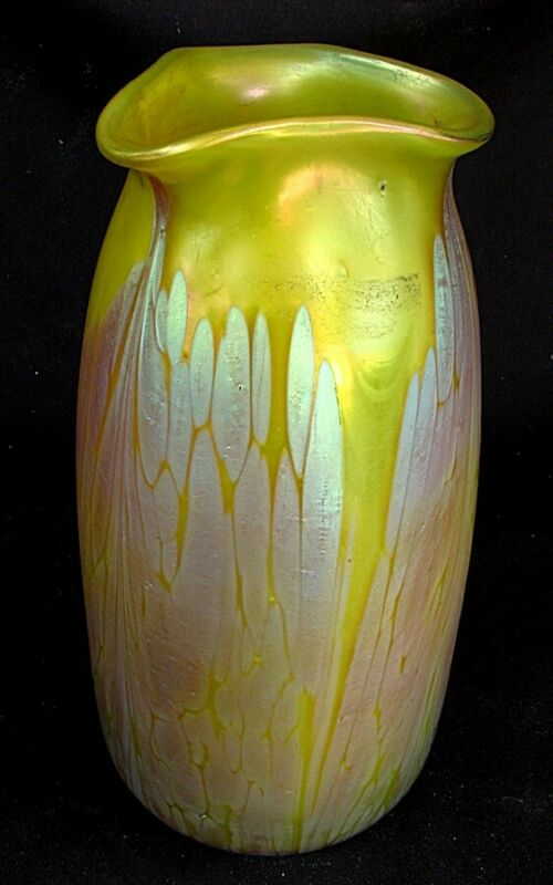 LOETZ MEDICI VASE YELLOW METALIC w OIL SPOTS c.1910