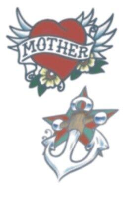 Mom Heart Tattoos (HENNA fake tattoo, VINTAGE HEART, ANCHOR, MOM, looks real, great)