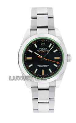 Rolex Mens Watch Stainless Steel Milgauss 116400 Green Crystal & Black Dial MINT