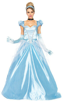Cinderella Klassisch 3-tlg. Erwachsene Kostüm Satin Ballkleid Kostüm - Erwachsene Cinderella Kleid
