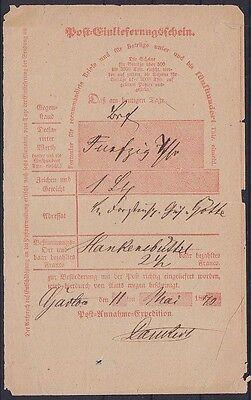 Preußen Postschein 1870 nach Hankensbüttel, Altdeutschland