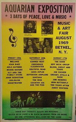 Aquarian Exposition Concert Poster 1969 Grateful Dead Jimi Hendrix Woodstock