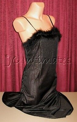 Lingerie-Sexy Marabou Trimmed Long Gown-Black(S)](Marabou Robe)