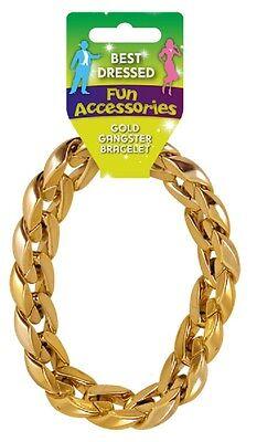 Mens Gangster Bracelet Gold for 70s Bling Fancy Dress Rapper Accessory Jewellery