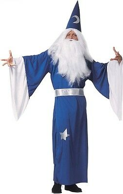 Blue Wizard Magician Merlin Dumbledore Gandalf Mens Fancy Dress Costume S-L