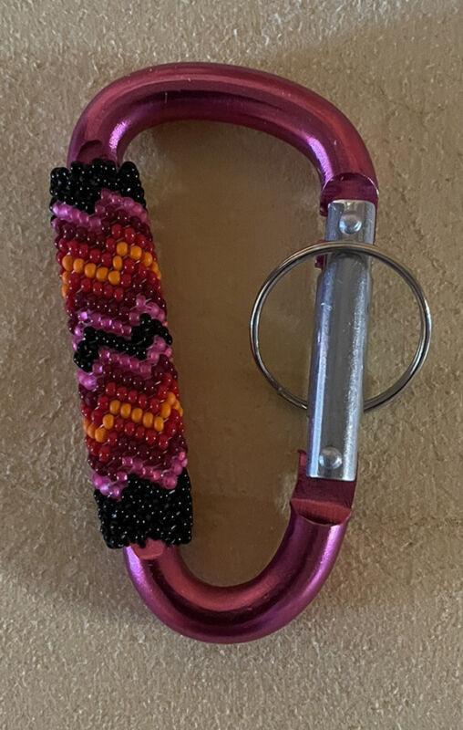 1 Beautiful Peyote Stitched Native American Lakota Beaded Carabiner Keychain