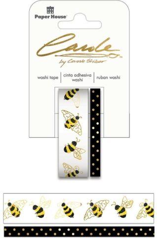 2 Rolls Gold Foil Bees Washi Tape Decorative Planner Papercraft Summer DIY Craft