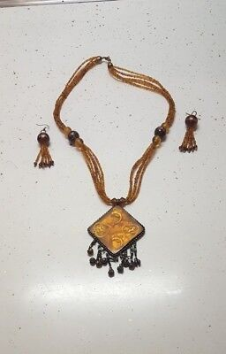 Glass Jewelry Necklace Set/Wearable Art Yellow Shell Inlay Kwanzaa 34900