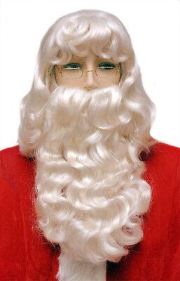 Weihnachtsmann Satz Super Luxus Weiß Perücke und Bart - Perücke Und Schnurrbart
