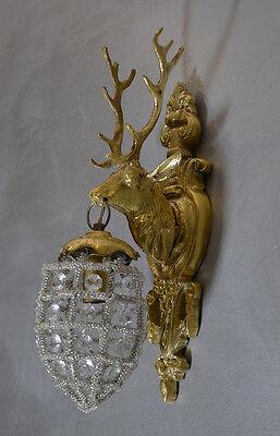 Art Deco Antik Wandlampe Jugendstil Lampe Messing Wandleuchter Glas Glamour Stil