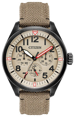 Citizen Eco Drive Men's Ivory Dial Khaki Cordura Strap 43mm Watch BU2055-08X