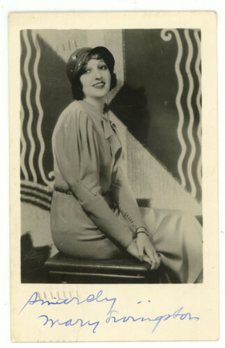1933 SIGNED AUTOGRAPH MARY LIVINGSTONE RPPC PUBLICITY REAL PHOTO POSTCARD