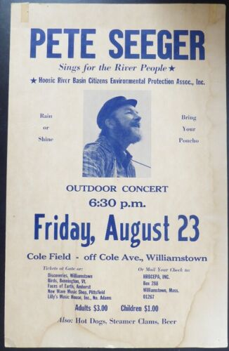 Pete Seeger August 23, 1974 Concert Poster Williamstown, MA - Hoosic River Basin