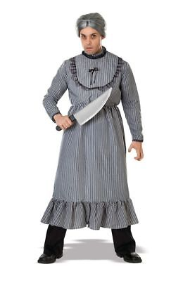 Victorian Dress Unisex Blk/Wht Stripe Norman Bates Psycho Granny Costume Dress   (Norman Bates Costume)