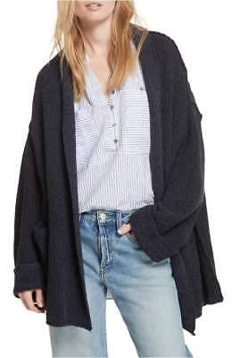 New Free People  Dark Gray Low Tide Shawl Cardigan Sweater Size M L  8 12
