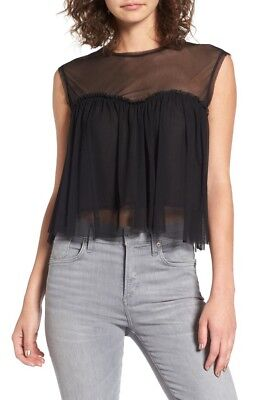 Chloe & Katie Black Mesh Baby Doll Crop Tee Top Illusion Neck Small NWT 1440 for sale  Shipping to India