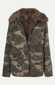 Topshop Camoflauge Faux Fur Jacket