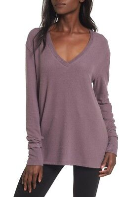 Nordstrom BP Women's Tunic Sweater V-Neck Pullover Purple Syrup Size L NEW
