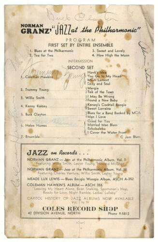 SIGNED AUTOGRAPH COLEMAN HAWKINS, TRUMMY YOUNG, BUCK CLAYTON, HELEN HUMES, MORE