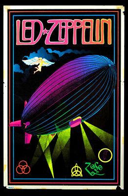 Vintage Led Zeppelin Black Light Poster Replica 13 x 19