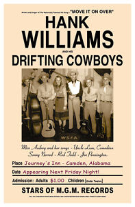 1940's Country Great: Hank Williams & Drifters  Alabama Concert Poster 1947