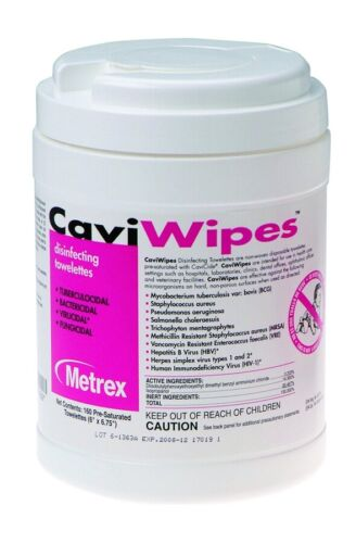 "Metrex 13-1100 CaviWipes Germicidal Hospital Towelettes Large 6"" x 6.75"" 160 Can"