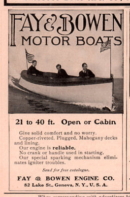 1907 a AD  FAY AND BOWEN MOTOR BOATS 21 TO 40 FOOT OPEN OR CABIN PHOTO