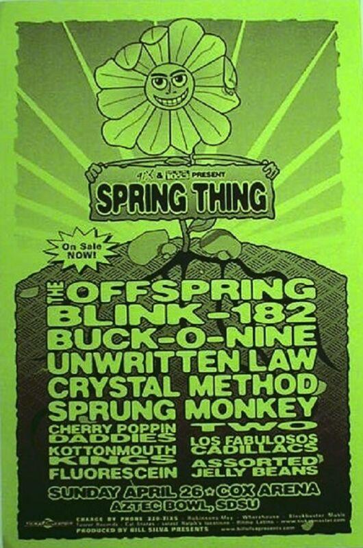 OFFSPRING/BLINK 182/BUCK-O-NINE/UNWRITTEN LAW 1998 SAN DIEGO CONCERT TOUR POSTER