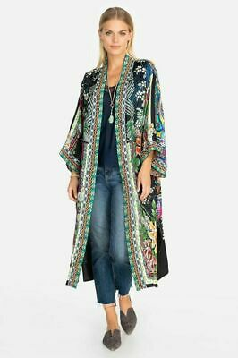 💚 JOHNNY Was Womens Eliza Reversible Kimono Jacket Embroidery Long Black XL New