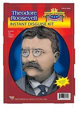 Theodore Roosevelt Costume Accessory Kit 3 Pc Brown Wig Mustache & Glasses (Theodore Roosevelt Costume)