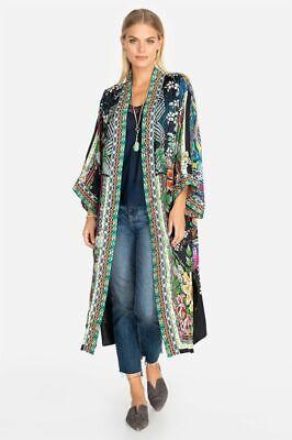 Johnny Was Women's Eliza Reversible Kimono Jacket Embroidery Long Black M New