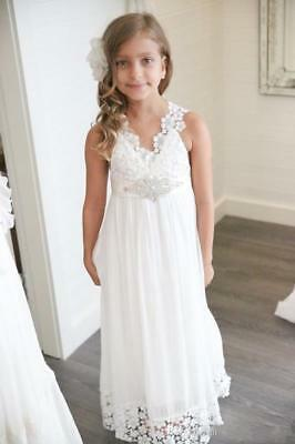 White Chiffon Flower Girl Dresses (2018 White Boho chiffon V-Neck Girls Pageant Dress Formal Flower Girls)