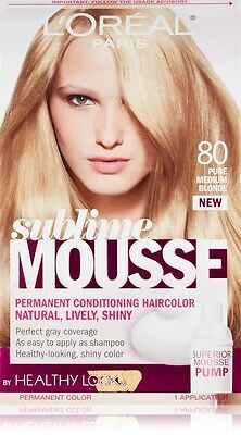 - L'Oreal Healthy Look Sublime Mousse Hair Color, 80 Pure Medium Blonde
