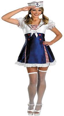 Damen Ahoy Matey Matrosenkleidung Unterrock Hut Kostüm DG2462 ()