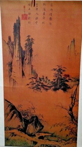 Large Antique Japanese Wall Hanging Scroll Silk Painting Japan Art Oriental