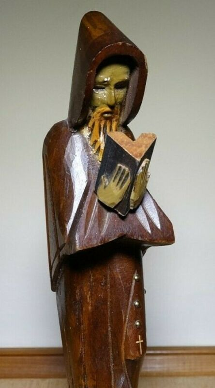 """1971 Hand Carved/Painted Wooden Monk Reading Book Figurine or Bookend 11"""" x 3.5"""""""